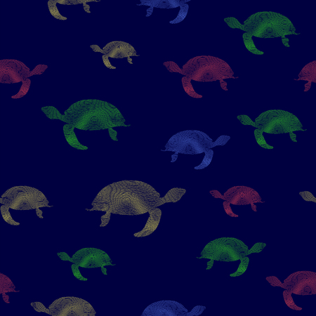 Colored Turtles Icon Seamless Pattern on Blue Background