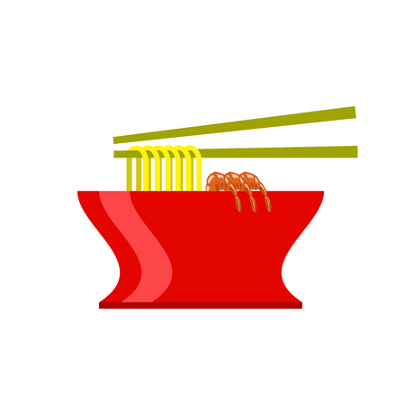 Asian Food Icon. Hot Noodle Soup with Shrimps on White Background Stock Photo