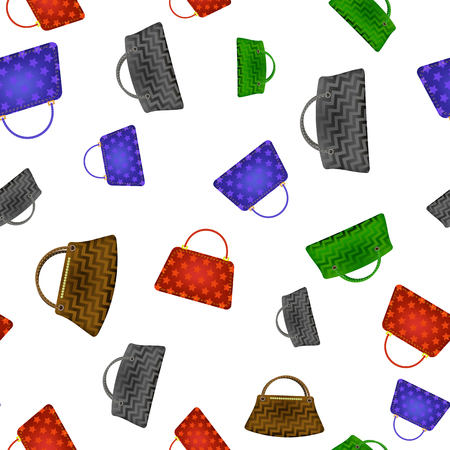 Colored Women Handbag Seamless Pattern Isolated on White Background