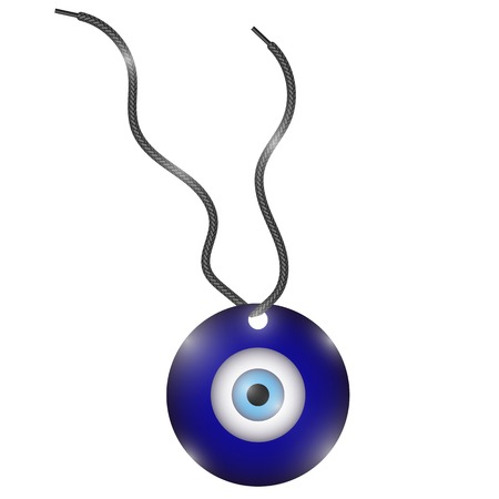 Glass Evil Eye Symbol Isolated on White Background. Turkish Traditional Amulet. Nazar Protection Talisman. Blue Magic Souvenir Illustration