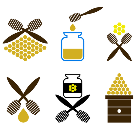 Set of Honey Icon Isolated on White Background