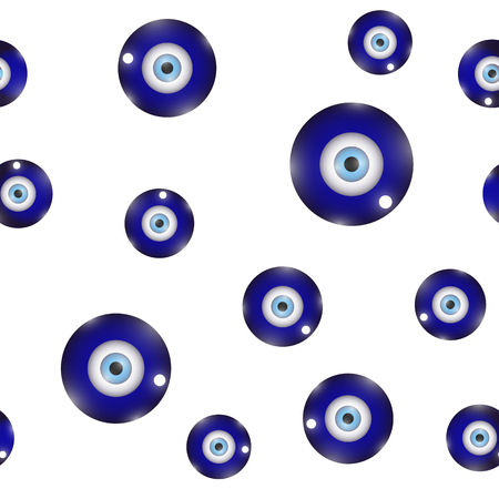 Glass Evil Eye Symbol Seamless Pattern on White Background. Turkish Traditional Amulet Protection Talisman. Blue Magic Souvenir
