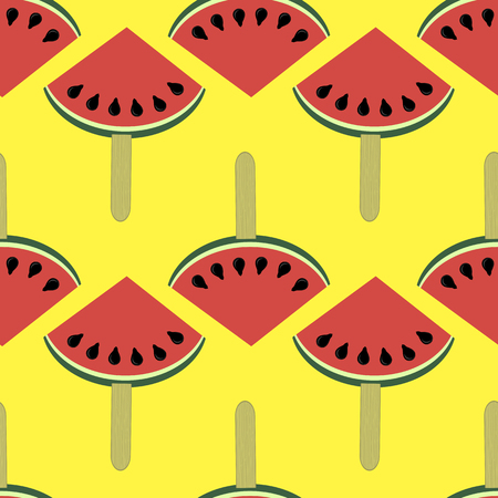 Fresh slice of watermelon seamless pattern on yellow background.