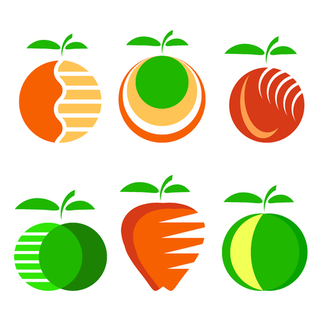Set of Different Apple Fruit Icons Isolated on White Background