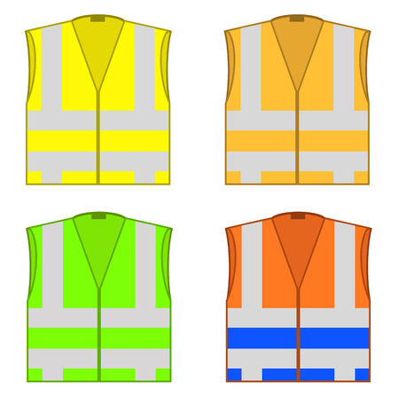 Set of colorful safety jackets isolated on white background. Protective work wear for work, road vests with stripes. Professional high-visibility clothes. Vectores