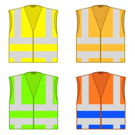 Satz bunte Sicherheitsjacken lokalisiert auf weißem Hintergrund. Arbeitsschutzkleidung für die Arbeit, Straßenwesten mit Streifen. Professionelle Warnkleidung.