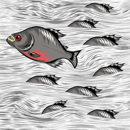 Cartoon Fish Swimming on Water Line Background Illustration