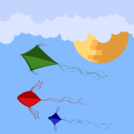 Colored Kites Flying in Blue Sky with Sun and Clouds. Vector illustration.