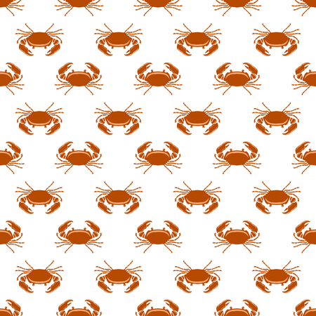 Boiled Sea Red Crab with Giant Claws Seamless Pattern on White Background. Fresh Seafood Icon. Delicious Appetizer.