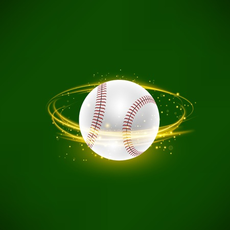 Flying Baseball Ball with Yellow Sparkles Isolated on Green Background Vector illustration.