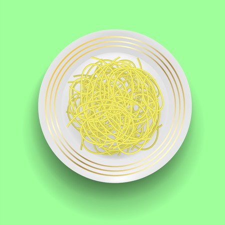 Boiled Floury Product Spaghetti with Plate on Green Background