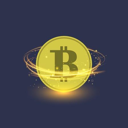 Colden Bitcoin aislado sobre fondo azul. Icono de moneda criptográfica