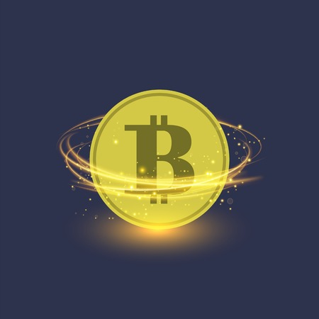 Colden Bitcoin Isolated on Blue Background. Crypto Currency Icon