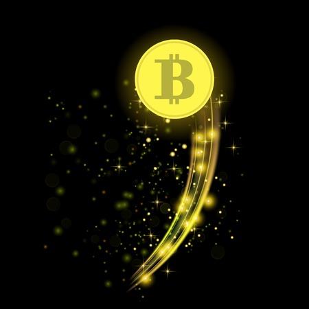 Golden Bitcoin vector illustration