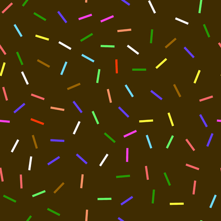 Sweet Donut Chocolate Texture. Glaze and Colored Sprinkles Seamless Pattern. Illustration
