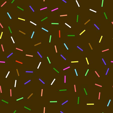 Sweet Donut Chocolate Texture. Glaze and Colored Sprinkles Seamless Pattern. Illusztráció