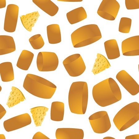Tasty Cheese Seamless Pattern. Yellow Food Backround. Made from Cows Milk. Natural Product. Stock Photo