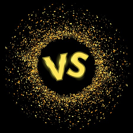 Concept of Confrontation, Together, Standoff, Final Fighting. Versus VS Letters Fight Background with Gold Parts. Illustration
