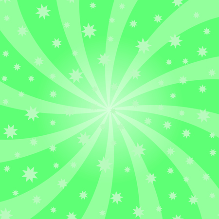 Green Cartoon Swirl Design. Vortex Starburst Spiral Twirl Square. Helix Rotation Rays. Swirling Radial Starry Pattern. Converging Psychedelic Scalable Striped Illusion. Sky with Sun Light Beams.