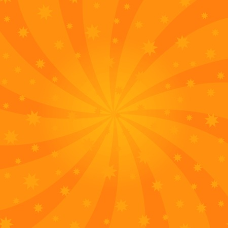 Orange Cartoon Swirl Design. Vortex Starburst Spiral Twirl Square. Helix Rotation Rays. Swirling Radial Starry Pattern. Converging Psychedelic Scalable Striped Illusion. Sky with Sun Light Beams. Ilustração
