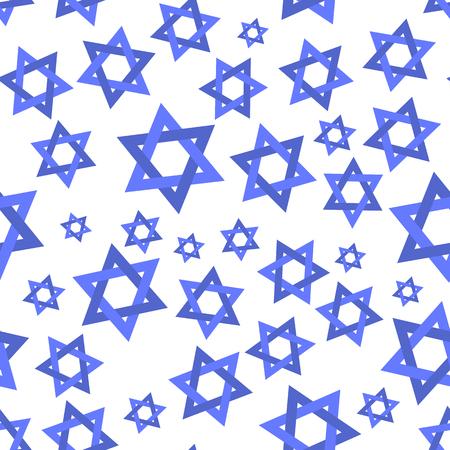 Blue Mosaic Stars of David Seamless Pattern Isolated on White Background Ilustração