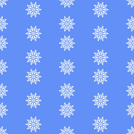 Snow Flakes Seamless Pattern on Blue Background. Winter Christmas Decorative Texture