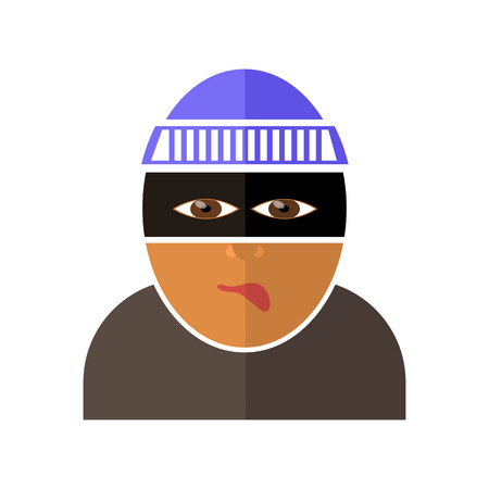 Gangster Icon Isolated on White Background. Flat Design Illustration