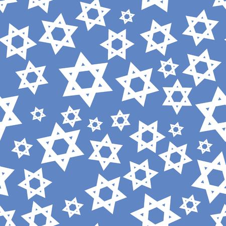 White Mosaic Stars of David Seamless Pattern Isolated on Blue Background Ilustração