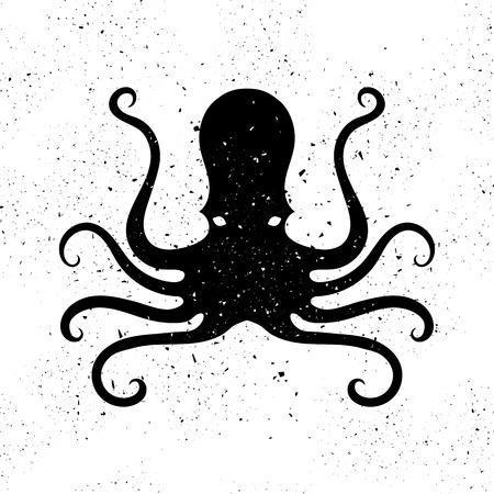 Silhouette of Octopus Icon Isolated on Grunge Background. Stilized Logo Design. Sea Food Symbol. Illustration