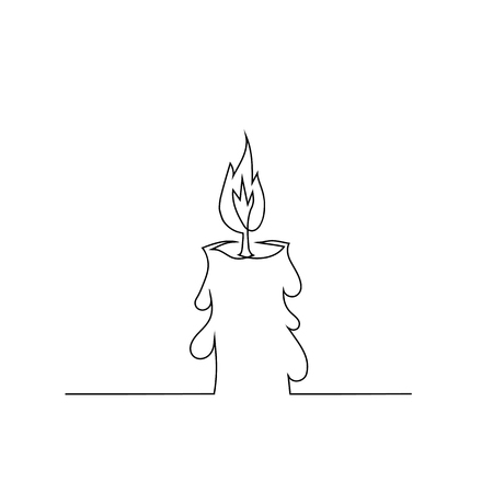 Burning Retro Candles Isolated on White Background. Continuous One Line Hand Drawing