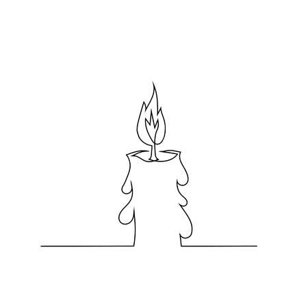 Brûler des bougies rétro isolé sur fond blanc. Dessin à la main d'une ligne continue