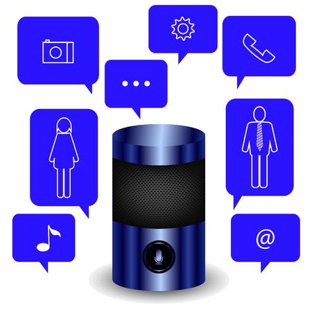 Modern Blue Smart Speaker Isolated on White Background