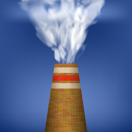 Factory Chimney and Smoke on Blue Sky Background. Environmental Pollution