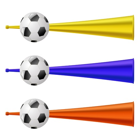 Colored Trumpets for Football Fun Isolated on White Background. Musical Vuvuzela Illustration
