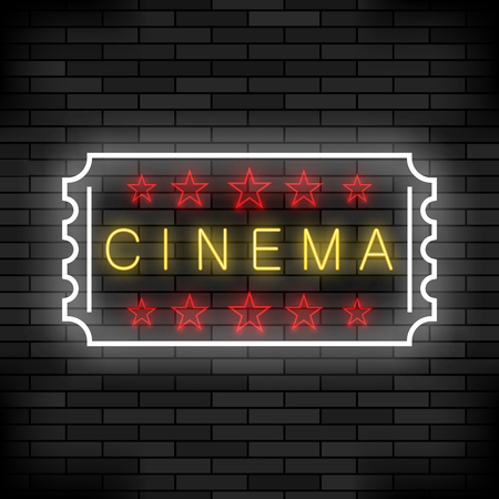 Cinema Light Neon Sign on Brick Background. Colored Signboard. Bright Street Banner.