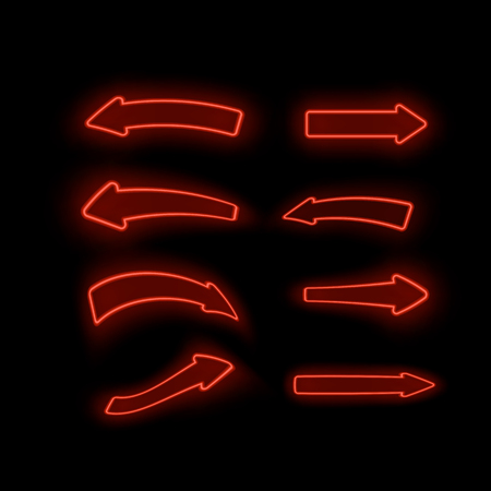 Set of Different Neon Red Arrows Isolated on Black Background