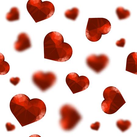 Red Polygonal Heart Random Seamless Pattern on White Background Иллюстрация