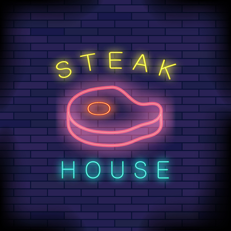 Burger House Neon Colorful Sign on Dark Blue Brick Background