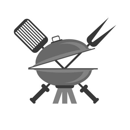 Barbeque Grey Icon Isolated on White Background Illustration