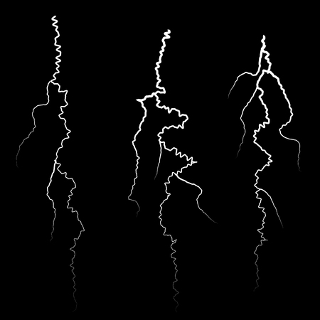 Set of Different Thunders on Black Background
