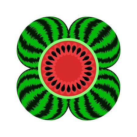 Fresh Ripe Watermelon Icon Isolated on White Background Illustration