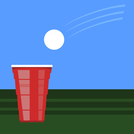 Beer Pong Tournament. Red Plastic Cup and White Tennis Ball on Green Table. Fun Game for Party. Traditional Drinking Time. Illustration