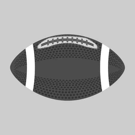 American Football Ball Isolated on Grey Background. Rugby Sport Icon. Sports Equipment Oval Design Element. Illustration