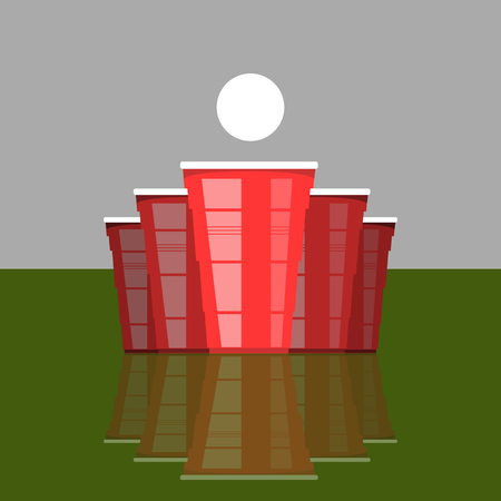Beer Pong Tournament. Red Plastic Cups and White Tennis Ball on Green Table. Fun Game for Party. Traditional Drinking Time.