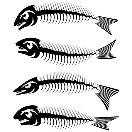 Fish Bone Skeleton Set Symbol Isolated on White Background. Sea Fishes Icons. Illustration