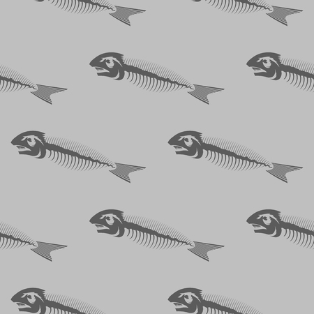 Fish Bone Skeleton Seamless Pattern Isolated on Grey Background. Sea Fishes Icons. Illustration