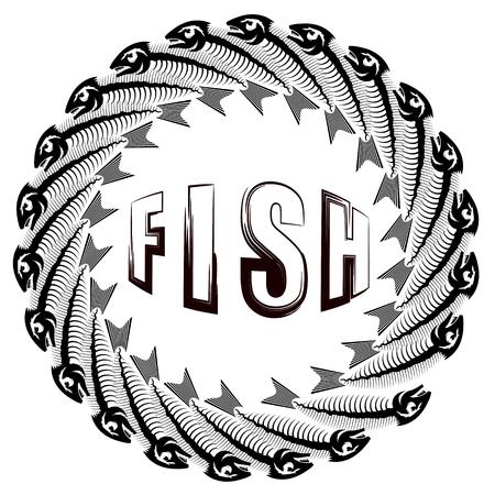 Fish Circle Frame Isolated on White Background