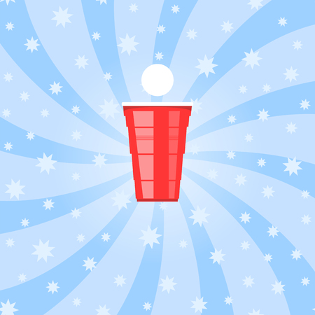 Beer Pong Tournament. Red Plastic Cup and White Tennis Ball on Blue Starry Background. Fun Game for Party. Traditional Drinking Time.