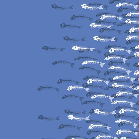 White Fish Bone Skeleton Isolated on Blue Background. Sea Fishes Icons.