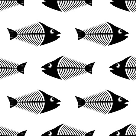 Fish Bone Skeleton Seamless Pattern Isolated on White Background. Sea Fishes Icons.
